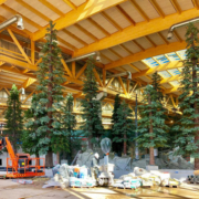 artificial pine tree installation